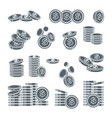 grey silver dollar coins stacks in row or falling vector image