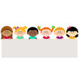 group children holding horizontal blank banner vector image vector image