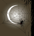 Halloween vertical banner full moon and cobweb vector image vector image