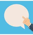 hand with pointing finger and bubble for text vector image