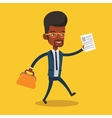Happy businessman running vector image vector image