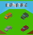 isometric automobile set of armored auto autobus vector image vector image