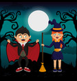 kids and halloween vector image vector image