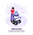 kids with robots background vector image vector image