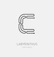 Letter C Labyrinth logo template Line art rebus vector image