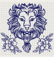 lion head sketch with flowers vector image vector image