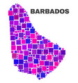 mosaic barbados map of square elements vector image vector image