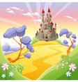Mythological landscape with medieval castle vector image