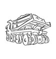 outline doodle loaded big mining truck vector image