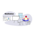 overweight obese woman sitting lotus pose on table vector image
