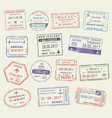 passport stamp travel visa for tourism design vector image