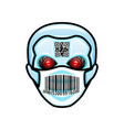 robot head icon in protective mask vector image