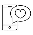 romantic message thin line icon smartphone with vector image vector image
