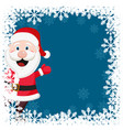 santa claus waves his hand in a christmas frame vector image vector image