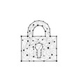 security lock composed of polygons lines and dots vector image
