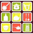 Set of 9 retro icons of kitchen utensils vector image vector image