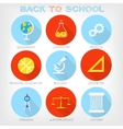 Set of flat-styled icons of school subjects vector image vector image