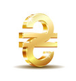 shiny gold ukrainian hryvnia currency sign vector image vector image
