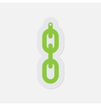 simple green icon - hanging chain with hole vector image vector image
