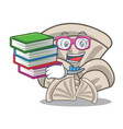 student with book oyster mushroom mascot cartoon vector image vector image
