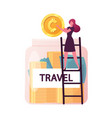 tiny female character stand on ladder put huge vector image vector image