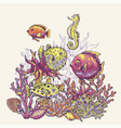 vintage sea life natural greeting card underwater vector image