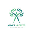 waves leaves - logo template human vector image