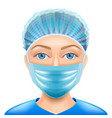 woman doctor face mask isolated vector image vector image
