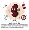 world kidney day infographic cartoon vector image