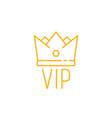 yellow thin line vip icon with crown vector image vector image