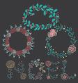 Christmas Flowers Borders vector image