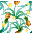 Pineapple and leaves seamless pattern watercolor vector image