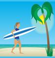 flat girl with longboard on beach vector image