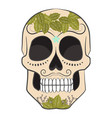 colored day of the dead sugar skull with ornament vector image