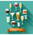 Alcohol drinks background design Glasses for vector image vector image