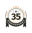 birtday vintage logo template to 35 th anniversary vector image vector image
