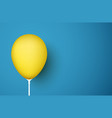blue background with yellow realistic 3d balloon vector image vector image