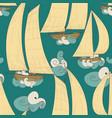 boats sailing on sea waves seamless pattern vector image