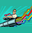 businessman opens pipe graphics grow up vector image