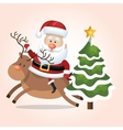 card santa claus riding reindeer and tree star vector image