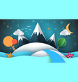 cartoog paper island star mountain cloud moon vector image vector image