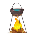 cauldron over campfire for outdoor cooking vector image vector image