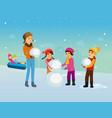 children in winter clothes sculpt snowman vector image vector image