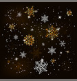 christmas background with shining gold snowflakes vector image vector image