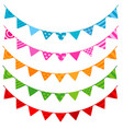 colorful party flag banner on white background vector image vector image