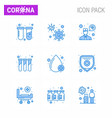 coronavirus awareness icon 9 blue icons icon vector image vector image