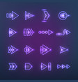 directional neon holographic arrows pointers vector image vector image