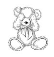 drawing unhappy teddy bear closing eyes vector image vector image