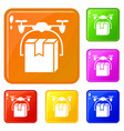 drone box delivery icons set color vector image