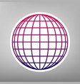 earth globe sign purple gradient icon on vector image vector image